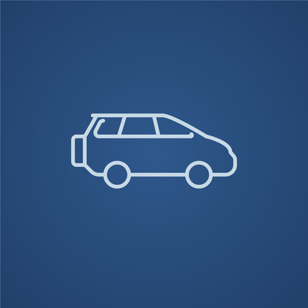 minivan: Minivan line icon for web, mobile and infographics. Vector light blue icon isolated on blue background. Illustration