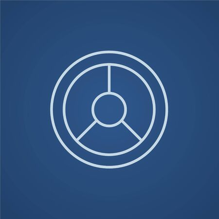 Steering wheel line icon for web, mobile and infographics. Vector light blue icon isolated on blue background. Illustration