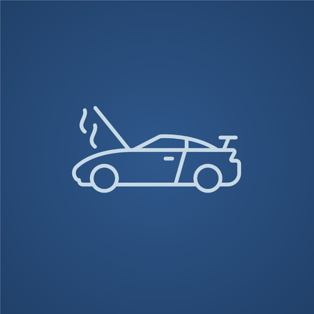 overheat: Broken car with open hood line icon for web, mobile and infographics. Vector light blue icon isolated on blue background. Illustration