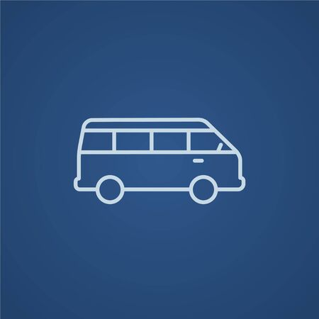 omnibus: Minibus line icon for web, mobile and infographics. Vector light blue icon isolated on blue background.