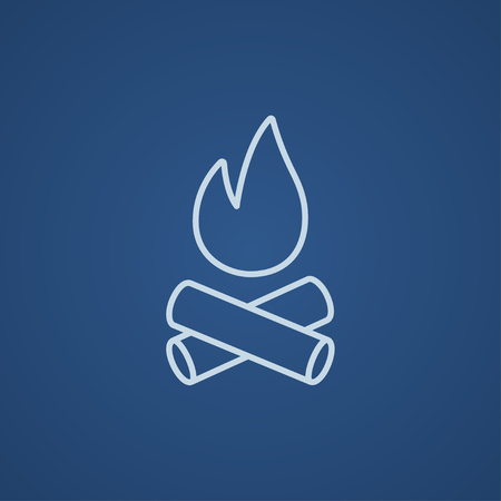 coals: Campfire line icon for web, mobile and infographics. Vector light blue icon isolated on blue background.