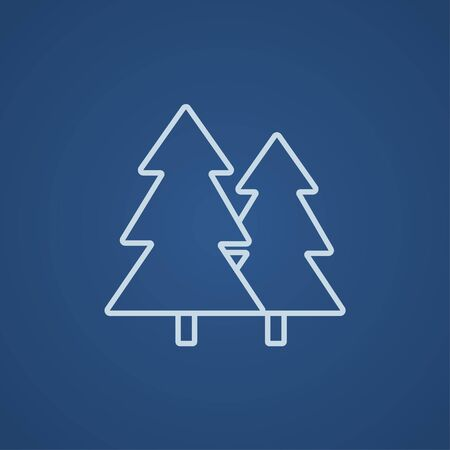tree line: Pine trees line icon for web, mobile and infographics. Vector light blue icon isolated on blue background.
