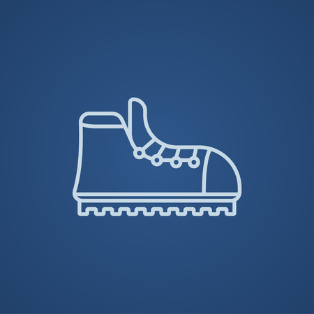 crampons: Hiking boot with crampons line icon for web, mobile and infographics. Vector light blue icon isolated on blue background.