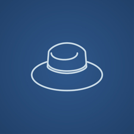 panama hat: Summer hat line icon for web, mobile and infographics. Vector light blue icon isolated on blue background.