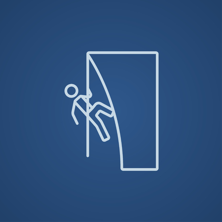 daring: Rock climber climbing an overhanging cliff line icon for web, mobile and infographics. Vector light blue icon isolated on blue background. Illustration