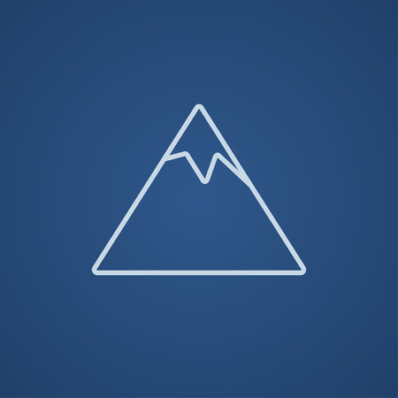 Mountain line icon for web, mobile and infographics. Vector light blue icon isolated on blue background.