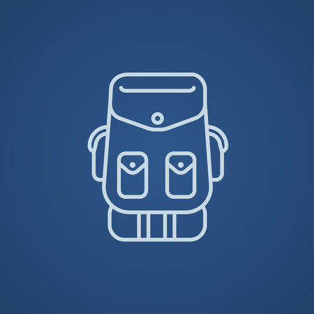 Backpack line icon for web, mobile and infographics. Vector light blue icon isolated on blue background. Ilustração