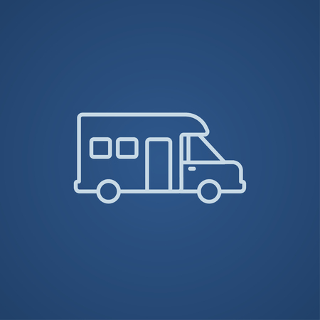 blue backgrounds: Motorhome line icon for web, mobile and infographics. Vector light blue icon isolated on blue background.