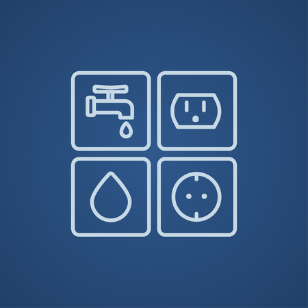 utilities: Utilities signs electricity and water line icon for web, mobile and infographics. Vector light blue icon isolated on blue background. Illustration