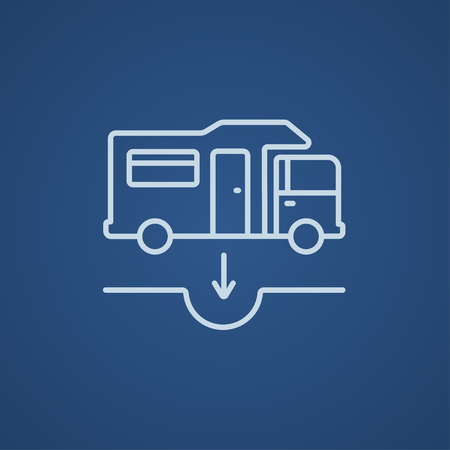 sump: Motorhome and sump line icon for web, mobile and infographics. Vector light blue icon isolated on blue background. Illustration