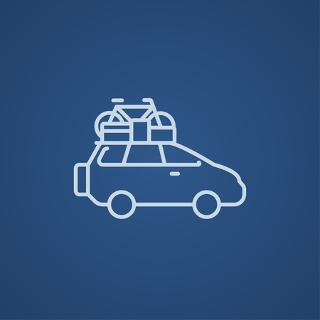 roof line: Car with bicycle mounted to the roof line icon for web, mobile and infographics. Vector light blue icon isolated on blue background.
