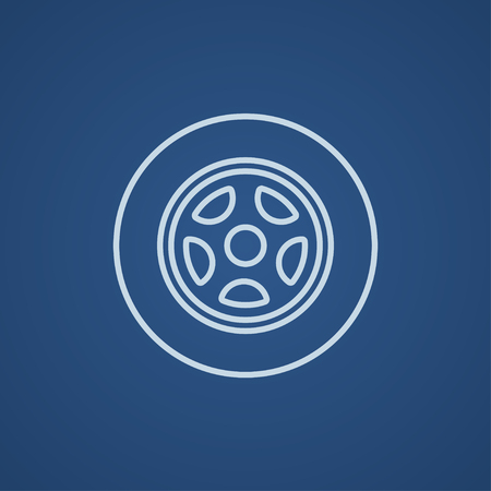 ring road: Car wheel line icon for web, mobile and infographics. Vector light blue icon isolated on blue background.