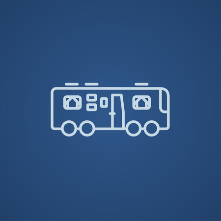 motorhome: Motorhome line icon for web, mobile and infographics. Vector light blue icon isolated on blue background.