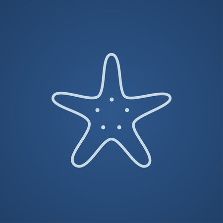 finger fish: Starfish line icon for web, mobile and infographics. Vector light blue icon isolated on blue background. Illustration