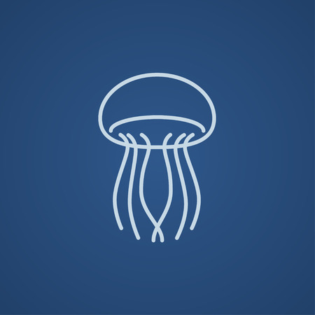 Jellyfish line icon for web, mobile and infographics. Vector light blue icon isolated on blue background.
