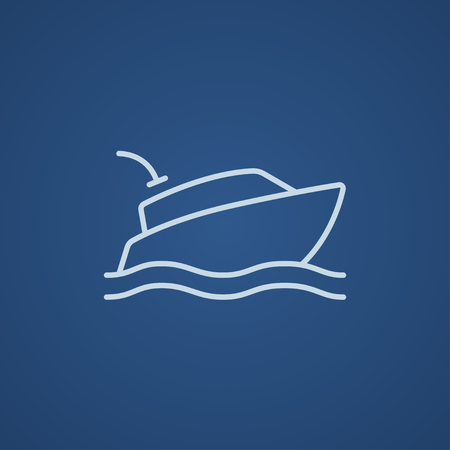hull: Yacht line icon for web, mobile and infographics. Vector light blue icon isolated on blue background.