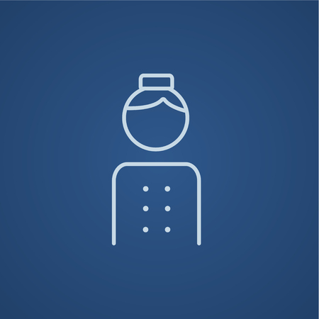 bellboy: Bellboy line icon for web, mobile and infographics. Vector light blue icon isolated on blue background.