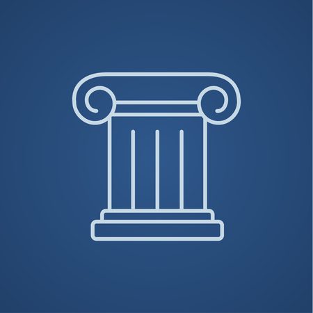 roman pillar: Ancient column line icon for web, mobile and infographics. Vector light blue icon isolated on blue background.