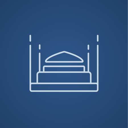 Taj Mahal line icon for web, mobile and infographics. Vector light blue icon isolated on blue background.