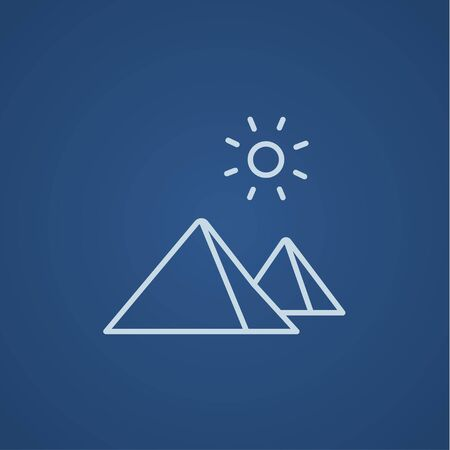 cheops: Egyptian pyramids line icon for web, mobile and infographics. Vector light blue icon isolated on blue background.