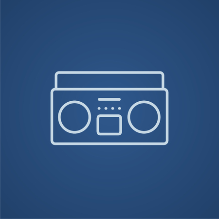 Radio cassette player line icon for web, mobile and infographics. Vector light blue icon isolated on blue background. Illusztráció