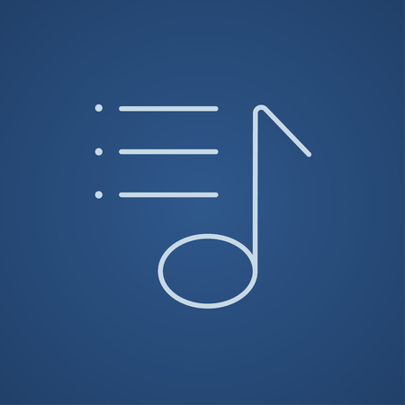 Musical note line icon for web, mobile and infographics. Vector light blue icon isolated on blue background.