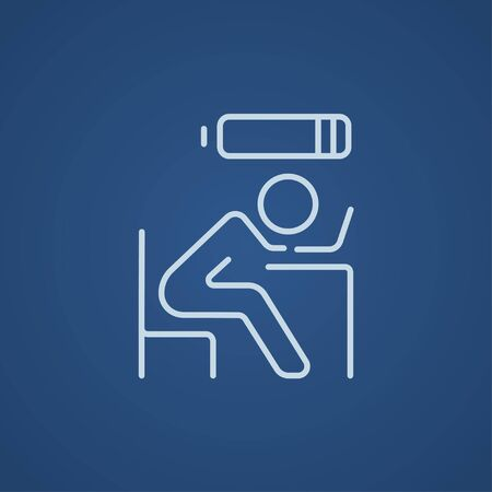 people icon: Tired employee sleeping on workplace on laptop keyboard with low power battery sign over his head line icon for web, mobile and infographics. Vector light blue icon isolated on blue background. Stock Photo