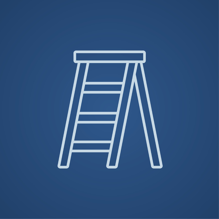 stepladder: Stepladder line icon for web, mobile and infographics. Vector light blue icon isolated on blue background.