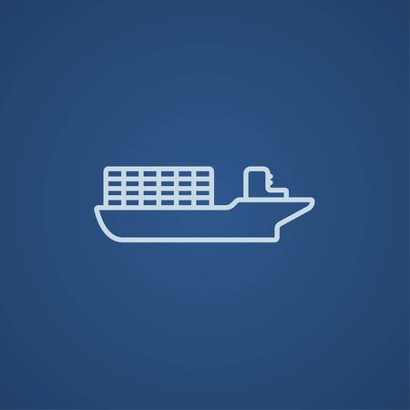 navy pier: Cargo container ship line icon for web, mobile and infographics. Vector light blue icon isolated on blue background.