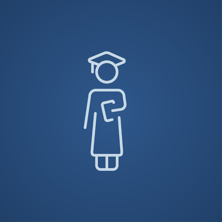 Graduate line icon for web, mobile and infographics. Vector light blue icon isolated on blue background. Ilustração
