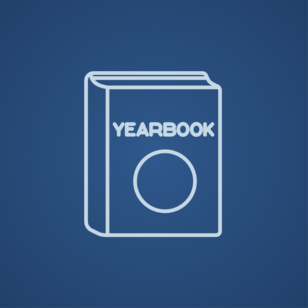 yearbook: Yearbook line icon for web, mobile and infographics. Vector light blue icon isolated on blue background. Illustration