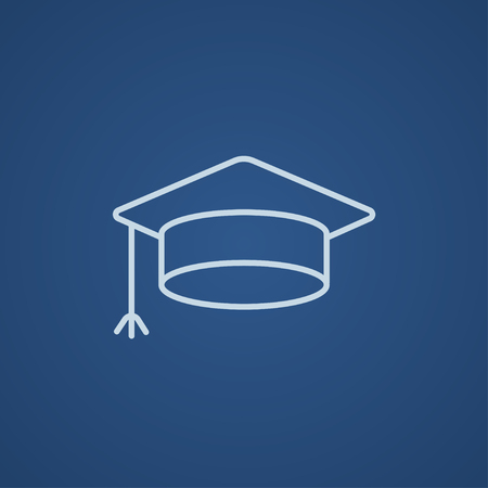 web cap: Graduation cap line icon for web, mobile and infographics. Vector light blue icon isolated on blue background. Illustration