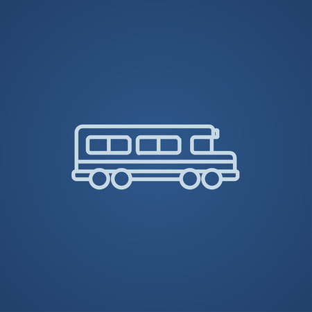 schoolbus: School bus line icon for web, mobile and infographics. Vector light blue icon isolated on blue background.