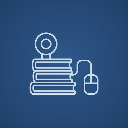 elearn: Computer mouse connected to a stack of books with webcam on it line icon for web, mobile and infographics. Vector light blue icon isolated on blue background. Illustration