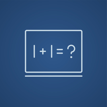 Maths example written on blackboard line icon for web, mobile and infographics. Vector light blue icon isolated on blue background. Illustration