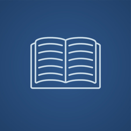 classbook: Open book line icon for web, mobile and infographics. Vector light blue icon isolated on blue background.