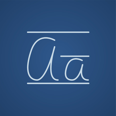cursive: Cursive letter a line icon for web, mobile and infographics. Vector light blue icon isolated on blue background.