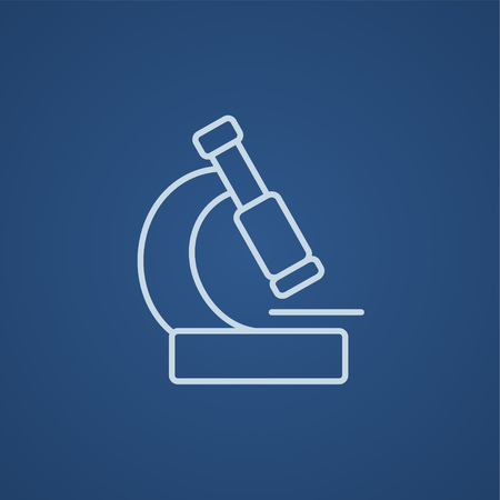 microscopy: Microscope line icon for web, mobile and infographics. Vector light blue icon isolated on blue background.
