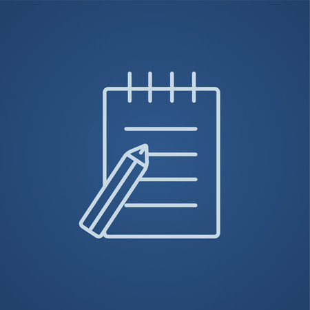 writing pad: Writing pad and pen line icon for web, mobile and infographics. Vector light blue icon isolated on blue background.