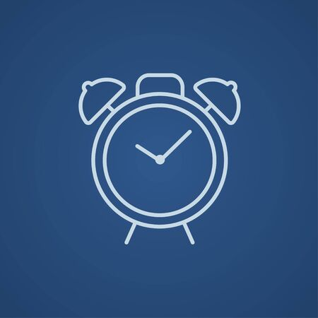 Alarm clock line icon for web, mobile and infographics. Vector light blue icon isolated on blue background. Ilustração