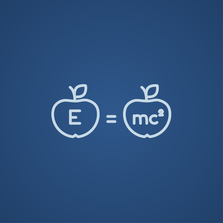 mc2: Two apples with formulae line icon for web, mobile and infographics. Vector light blue icon isolated on blue background. Illustration