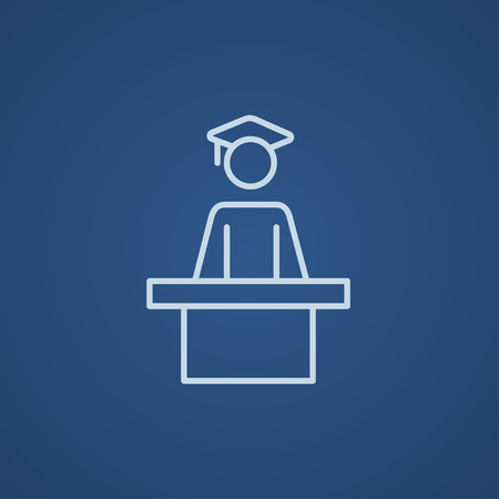 tribune: Graduate standing near tribune line icon for web, mobile and infographics. Vector light blue icon isolated on blue background.