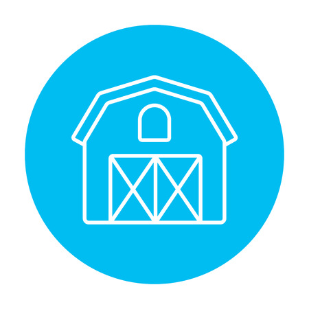 Farm building line icon for web, mobile and infographics. Vector white icon on the light blue circle isolated on white background.
