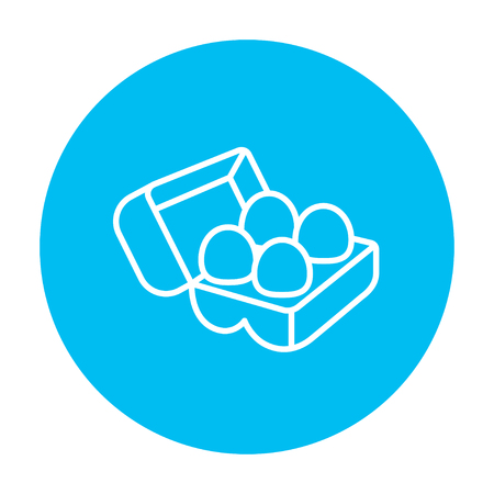 Eggs in a carton package line icon for web, mobile and infographics. Vector white icon on the light blue circle isolated on white background.