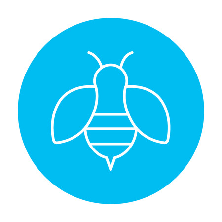 Bee line icon for web, mobile and infographics. Vector white icon on the light blue circle isolated on white background.