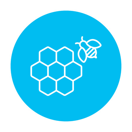 Honeycomb and a bee line icon for web, mobile and infographics. Vector white icon on the light blue circle isolated on white background. Ilustração