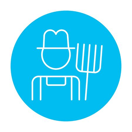 Farmer with pitchfork line icon for web, mobile and infographics. Vector white icon on the light blue circle isolated on white background. Illustration