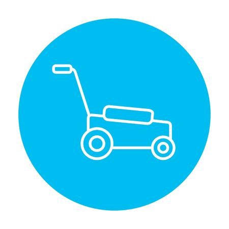 push mower: Lawnmover line icon for web, mobile and infographics. Vector white icon on the light blue circle isolated on white background.