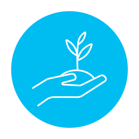 Hands holding seedling in soil line icon for web, mobile and infographics. Vector white icon on the light blue circle isolated on white background.