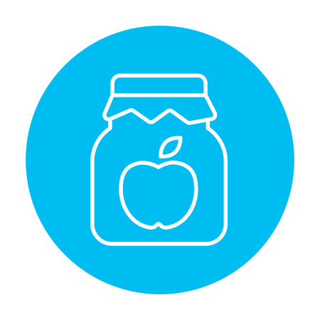 Apple jam jar line icon for web, mobile and infographics. Vector white icon on the light blue circle isolated on white background.